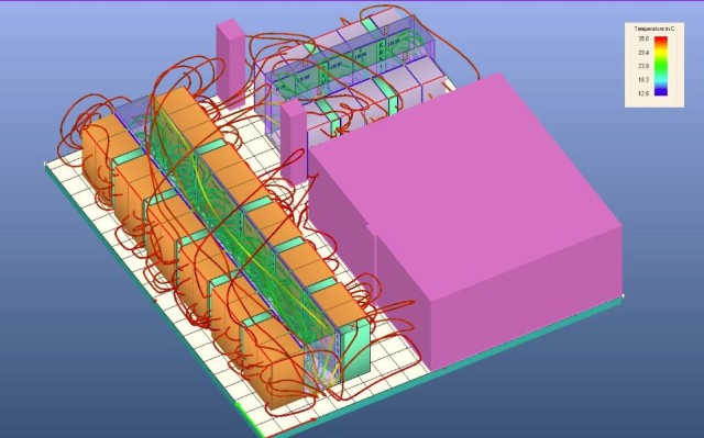 Rys.3. Symulacja trójwymiarowa dróg przepływu powietrza w serwerowni.
