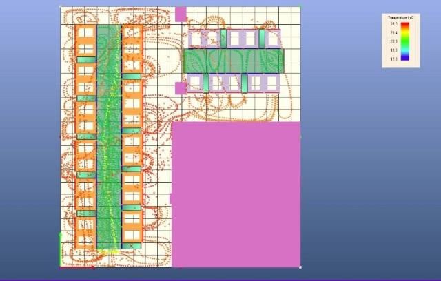 Rys.4. Symulacja pozioma dróg przepływu powietrza w serwerowni.