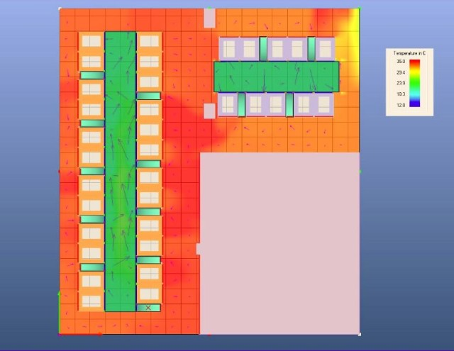 Rys.5. Symulacja pozioma różnic temperatury serwerowni.