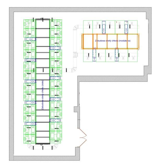 Rzut serwerowni wchodzącej w skład analizowanego centrum danych (węższe szafy to klimatyzatory rzędowe).